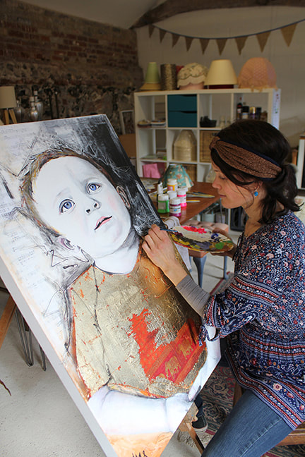 Picture of artist Abbey Stirling in her studio (photo credit Ben Zaven Crane)