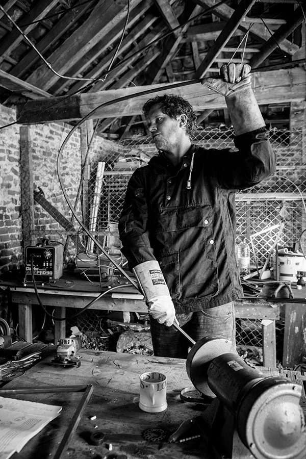 Picture of artists Henry J Stephen in his workshop (photo credit Kris Elliot)